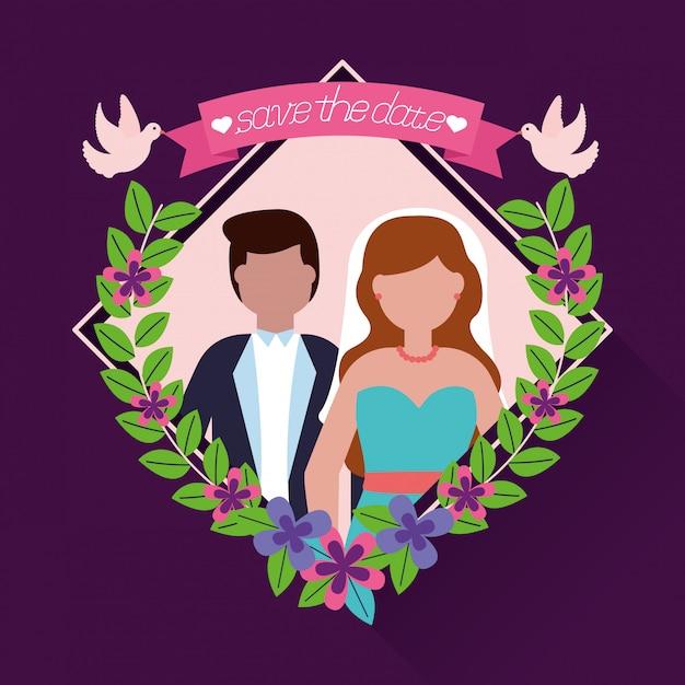 En personas de boda de estilo plano vector gratuito