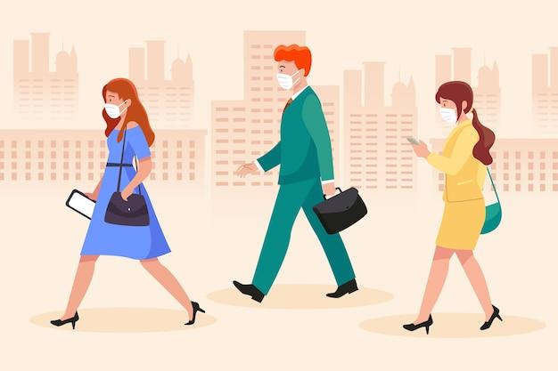 Personas caminando a sus trabajos y con máscaras. Vector Premium
