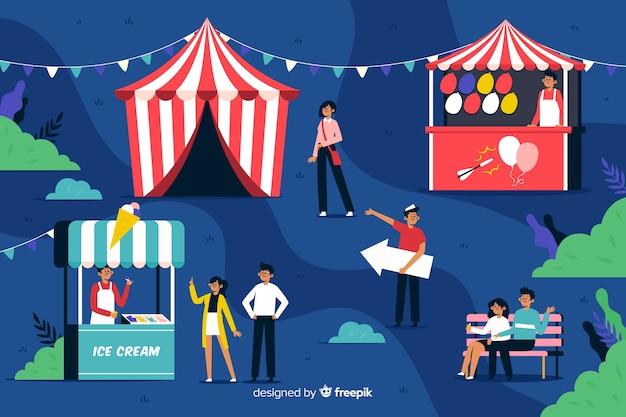 Personas en el carnaval nocturno en diseño plano vector gratuito