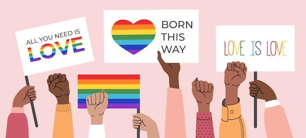 Personas con carteles, símbolos, carteles y banderas lgbt con arco iris, mes del orgullo. derechos humanos, el amor es amor. | Vector Premium