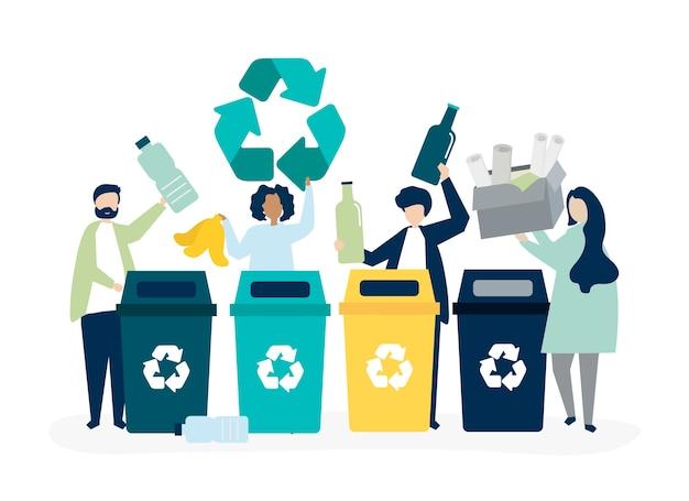 Personas clasificando basura para reciclar. vector gratuito