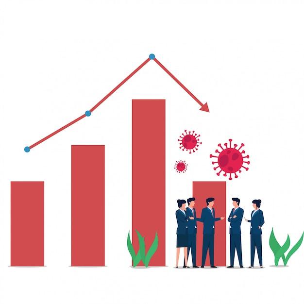 Las personas de concepto plano de negocios se encuentran cuando el virus corona influye en la pérdida de acciones y mercado. Vector Premium