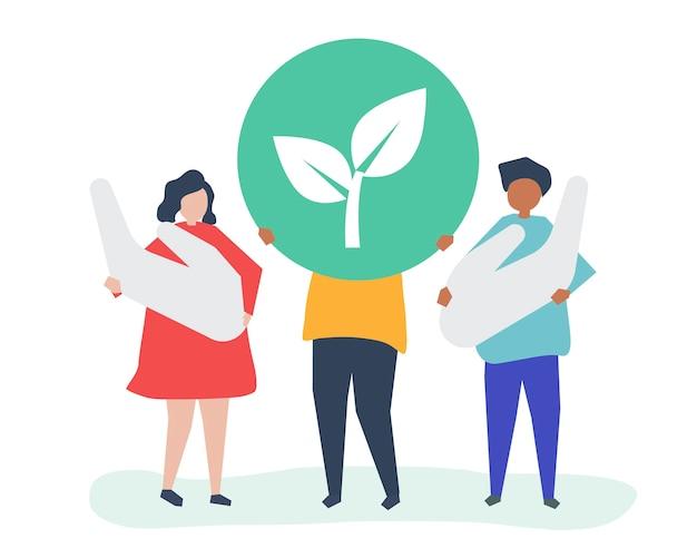 Personas con concepto de responsabilidad ambiental. vector gratuito