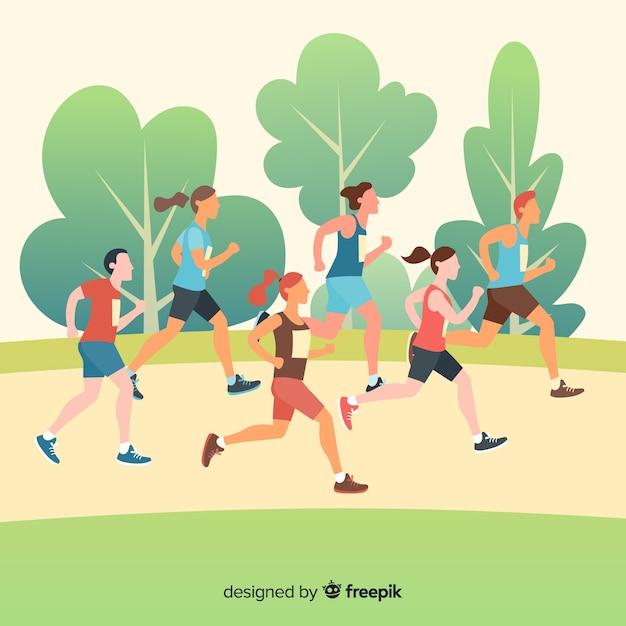 Personas corriendo en una maratón vector gratuito