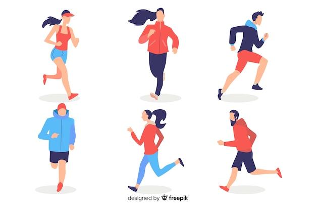 Personas corriendo vector gratuito
