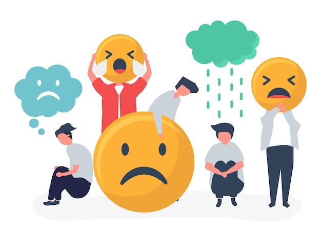 Personas con depresión e infelicidad. vector gratuito