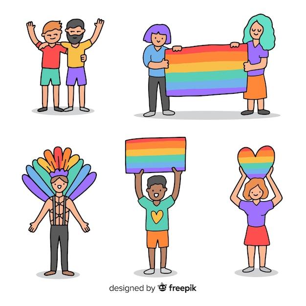 Personas en el día del orgullo vector gratuito