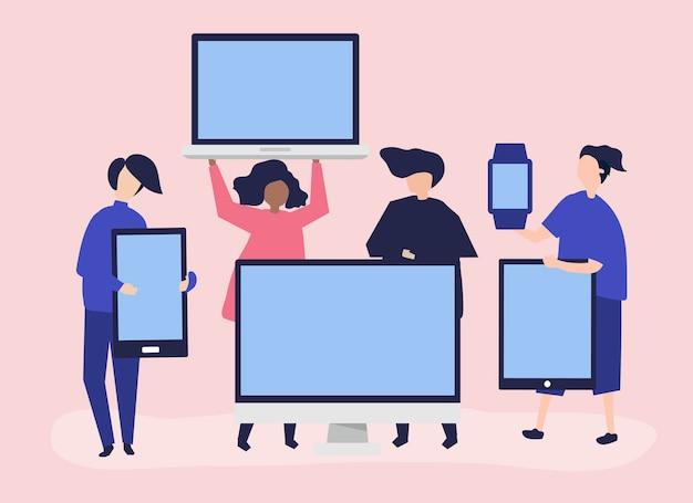 Personas con diferentes dispositivos digitales. vector gratuito