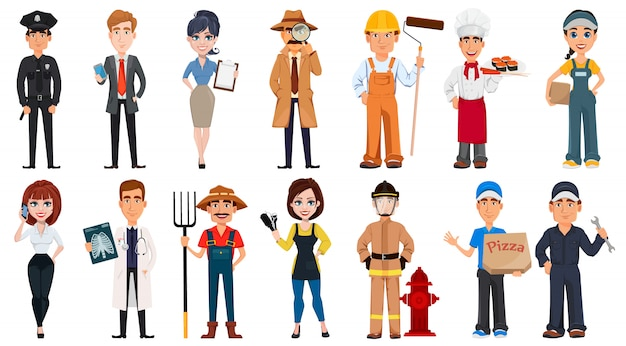 Personas de diferentes profesiones. Vector Premium