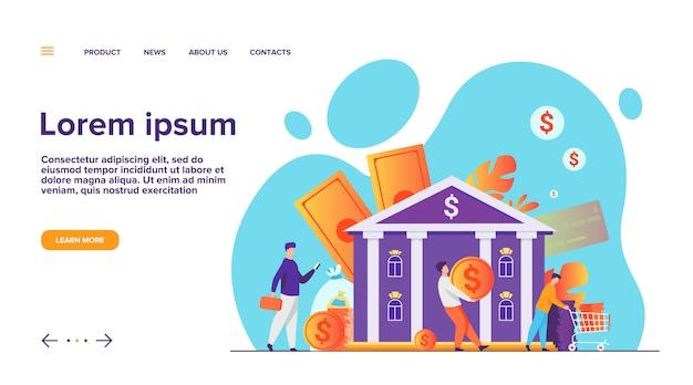 Personas con dinero caminando a la página de inicio del edificio del banco vector gratuito