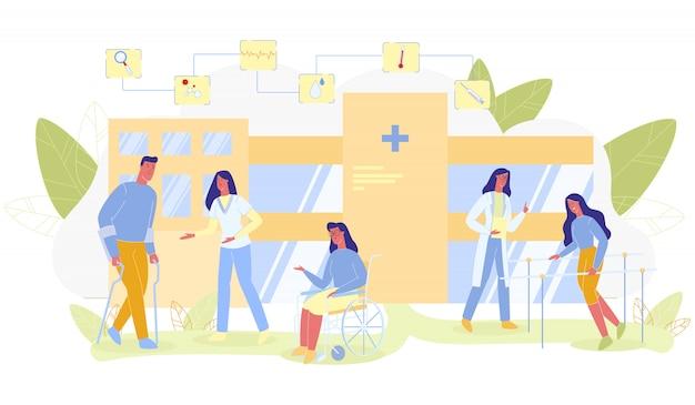 Las personas con discapacidad en la rehabilitación plana de dibujos animados Vector Premium