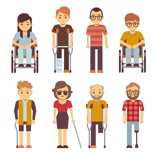 Personas con discapacidad vector iconos planos Vector Premium