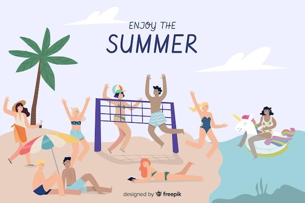 Personas disfrutando el verano vector gratuito