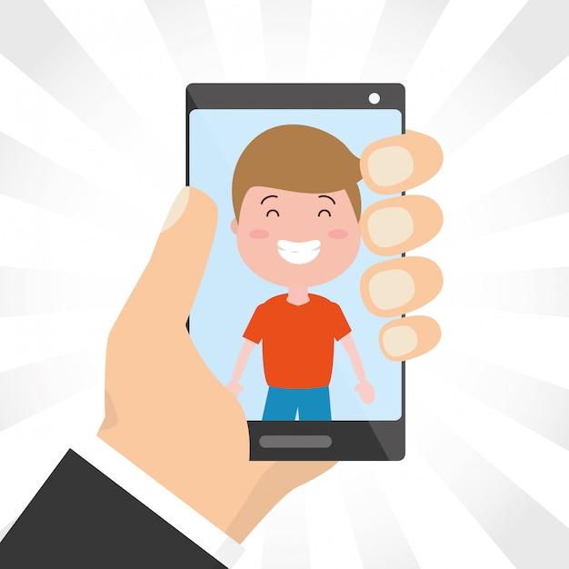 Personas con dispositivos tecnológicos vector gratuito