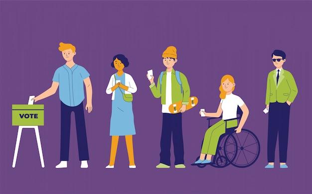 Personas de diversidad haciendo cola para elecciones públicas Vector Premium