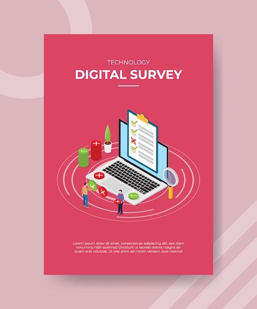 Las personas de la encuesta digital llenan la lista de verificación en la computadora portátil para la plantilla de folleto vector gratuito