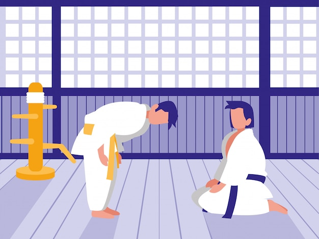 Personas en escena de dojo de artes marciales Vector Premium