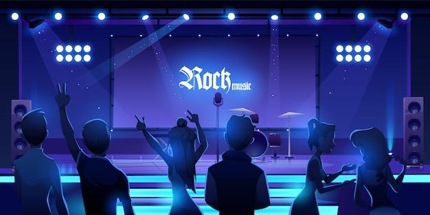 Personas en el escenario esperando concierto de música rock. evento vector gratuito