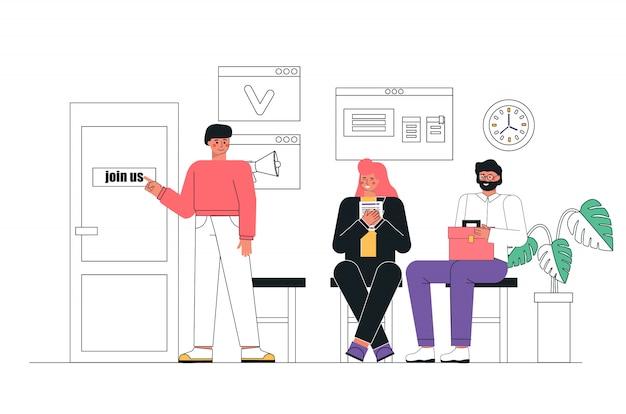 Personas esperando una entrevista de trabajo sentados en sillas en el vestíbulo de la oficina. concepto de recursos humanos, agencia de contratación. Vector Premium