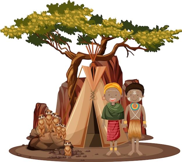 Personas étnicas de tribus africanas aisladas Vector Premium