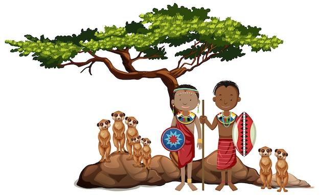 Personas étnicas de tribus africanas y animales salvajes. Vector Premium