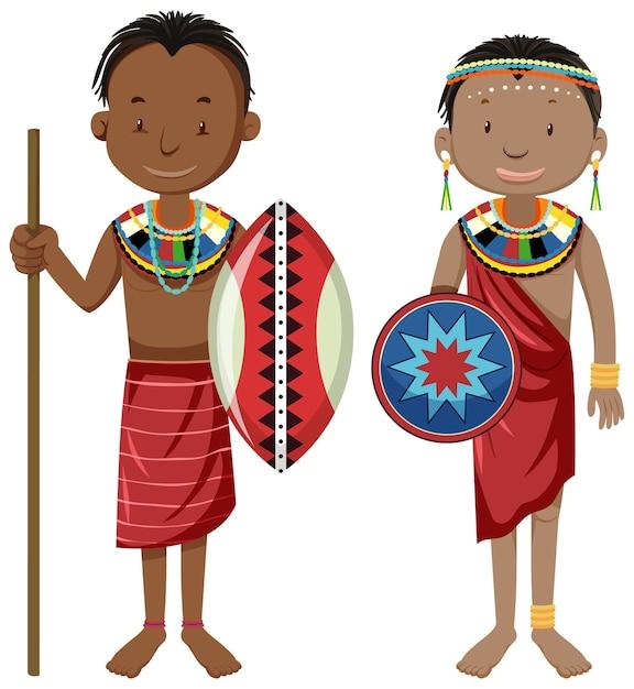 Personas étnicas de tribus africanas en personaje de dibujos animados de ropa tradicional vector gratuito