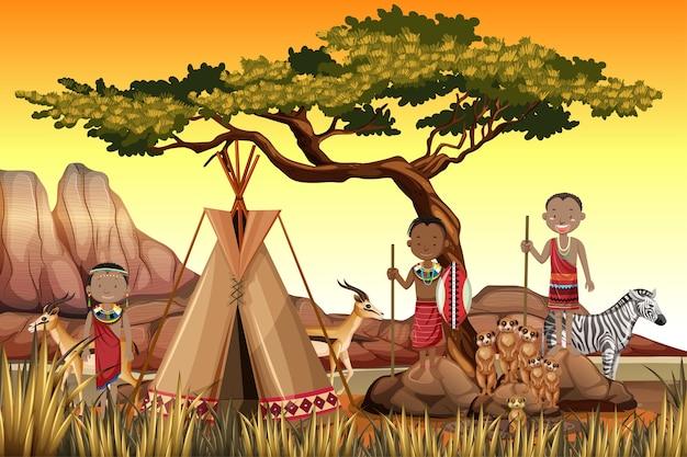 Personas étnicas de tribus africanas en vestimentas tradicionales en el fondo de la naturaleza vector gratuito