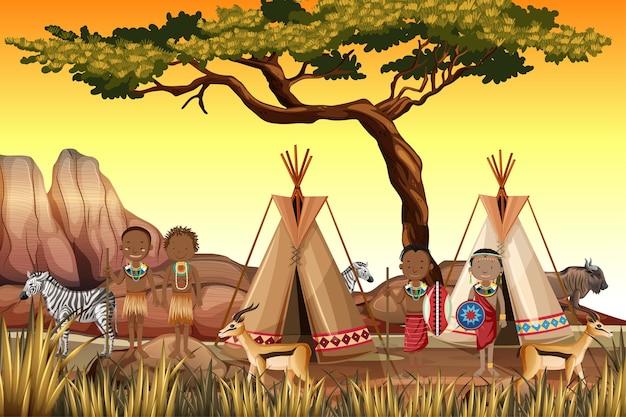 Personas étnicas de tribus africanas en vestimentas tradicionales en la naturaleza Vector Premium