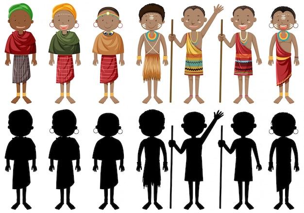 Personas étnicas de tribus africanas en vestimentas tradicionales vector gratuito