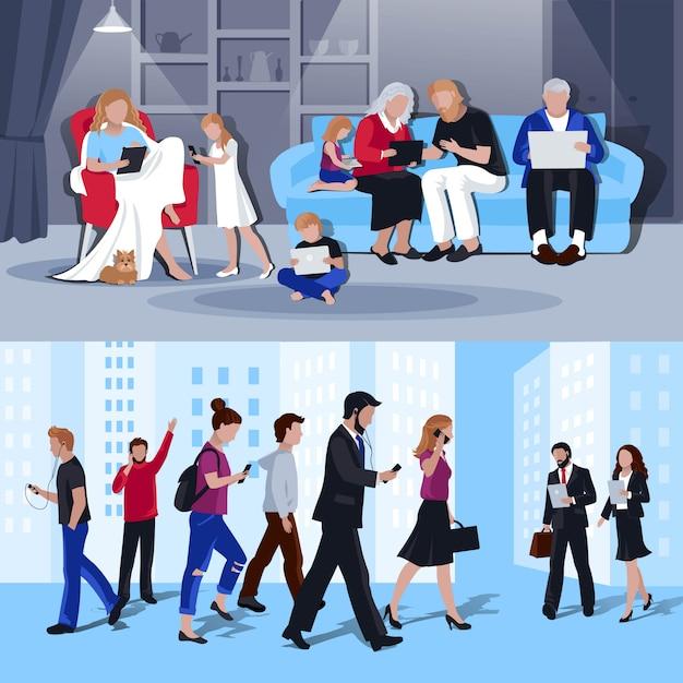 Personas con gadgets 2 banners planos vector gratuito