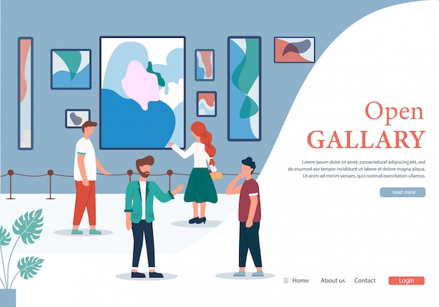 Personas en la galería de arte contemporáneo open banner Vector Premium