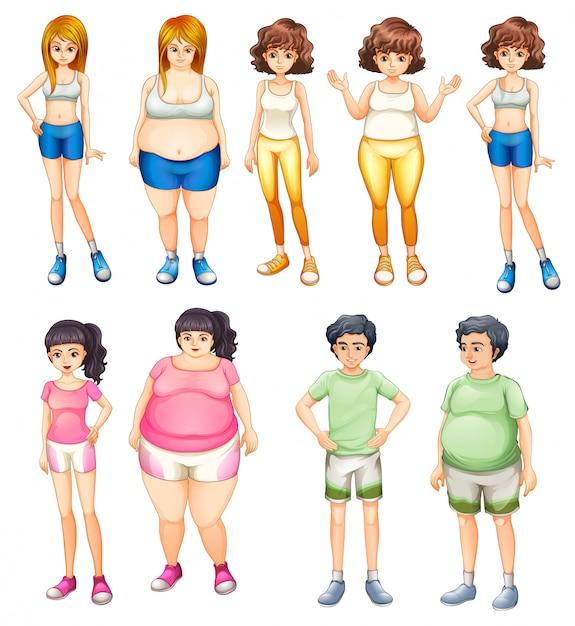 Personas gordas y delgadas. vector gratuito
