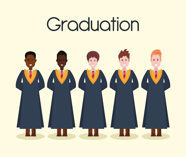 Personas Graduadas De Pie Vector Premium