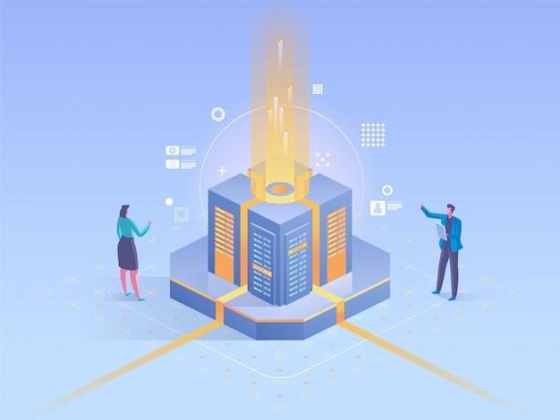 Personas con gráficos y análisis de estadísticas de fondo Vector Premium