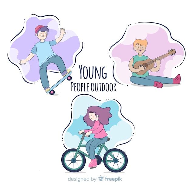 Personas haciendo actividades al aire libre vector gratuito
