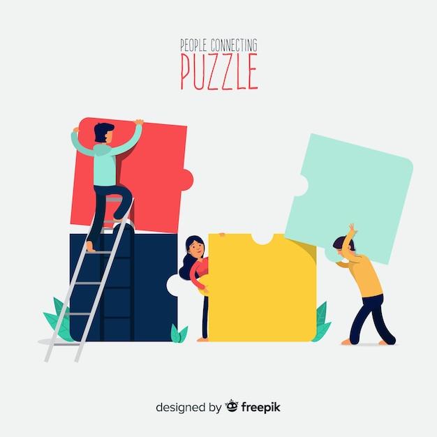 Personas haciendo puzles vector gratuito