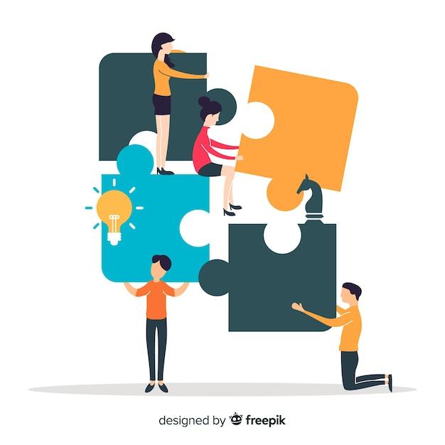 Personas haciendo puzzle juntos vector gratuito