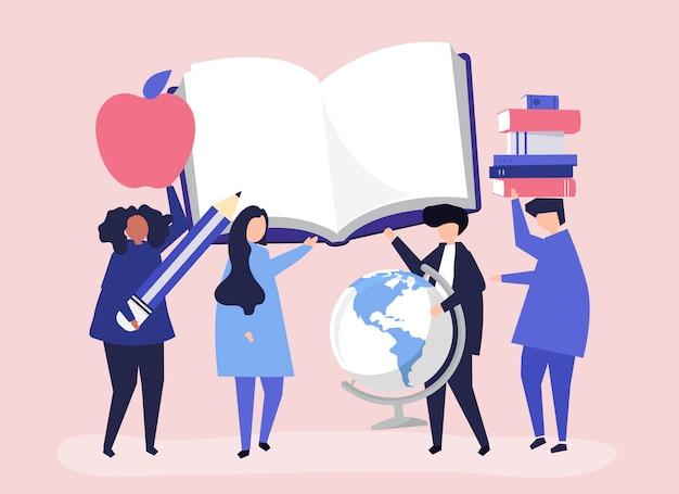 Personas con iconos relacionados con la educación. vector gratuito