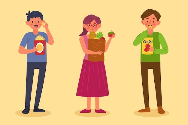 Personas con ilustración de comida vector gratuito