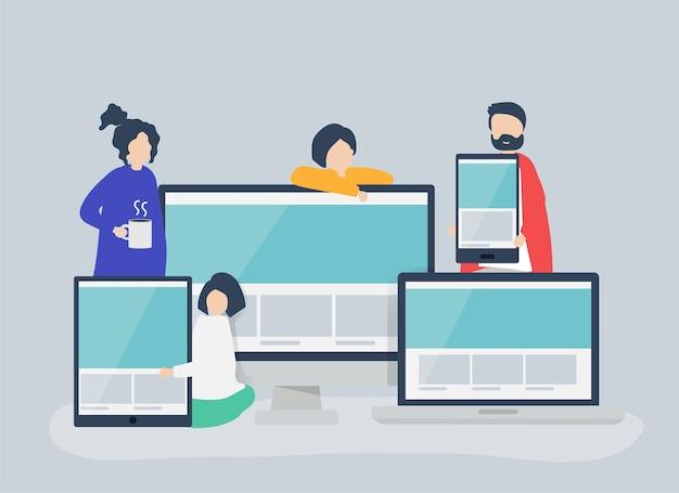 Personas con ilustración de concepto de diseño web vector gratuito