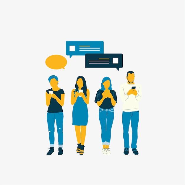 Personas ilustradas con red social. vector gratuito