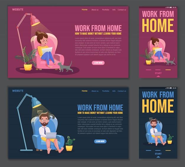 Las personas independientes trabajan en condiciones cómodas. plantilla de sitio web, página de destino y diseño de aplicaciones móviles. personaje independiente trabajando desde casa en el lugar de trabajo conveniente. ilustración de dibujos animados plana Vector Premium