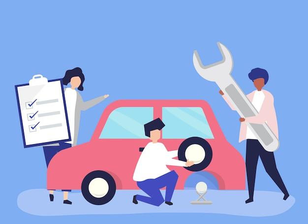 Personas intercambiando un neumático de coche. vector gratuito