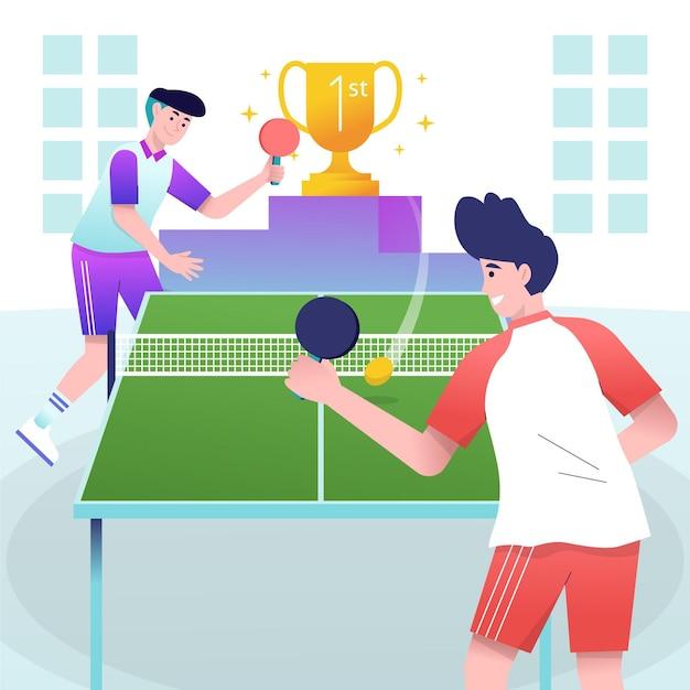 Personas jugando tenis de mesa en el interior vector gratuito