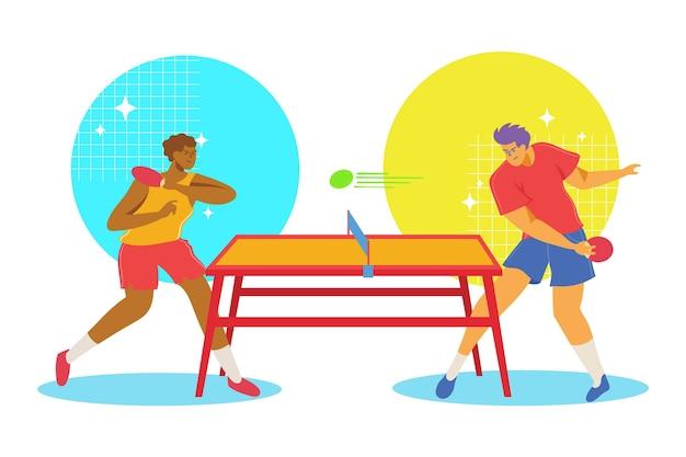 Personas jugando tenis de mesa vector gratuito