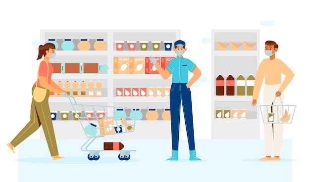 Personas manteniendo distancia en supermercado vector gratuito