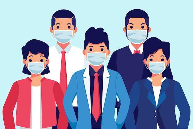 Personas con mascarilla médica vector gratuito