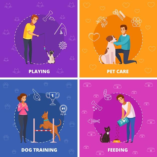 Personas con mascotas 2x2 iconos cuadrados de dibujos animados vector gratuito