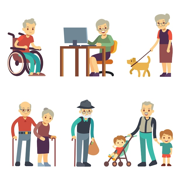 Personas mayores en diferentes situaciones. conjunto de vectores de actividades hombre y mujer mayores. abuela vieja y abuelo caminando ilustración Vector Premium