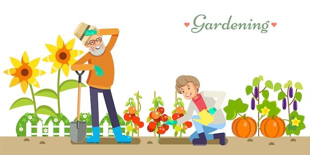 Personas mayores estilo de vida vector ilustración plana jardinería y placer de placer. el abuelo y la abuela en el jardín. blanco aislado Vector Premium